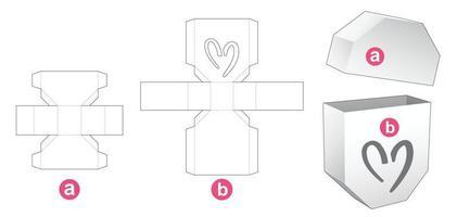 caixa octogonal e tampa com molde de janela em formato de coração vetor