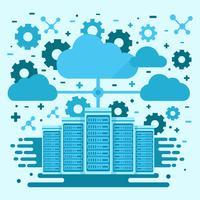 Conceito de rede de nuvem e servidor vetor