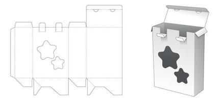 caixa de embalagem com 2 pontos travados e molde de janela em forma de estrela