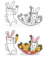 Página para colorir desenho animado de gatos e cenouras coelho