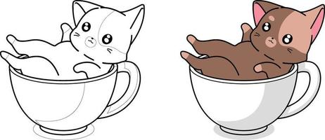 desenho para colorir gato fofo na xícara de café vetor