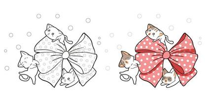 página para colorir desenho de gatos fofos e arco grande rosa