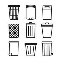 conjunto de ícones de lata de lixo. lixo pode alinhar coleção de ícones para aplicativos da web e conceito móvel.
