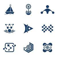 pacote de design de vetor de ícone de logotipo de tecnologia profissional para negócios