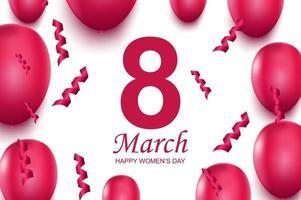 feliz dia da mulher cartão. balões de ar rosa e confetes caindo.