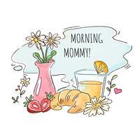 Café da manhã com suco de laranja, croissant, morangos e vaso de flores vetor