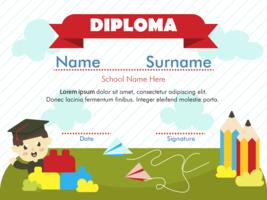 Vetor De Diploma De Jardim De Infância