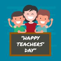 Feliz dia dos professores saudação ilustração vetorial vetor