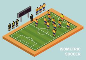 Campo de futebol isométrico e jogador vetor