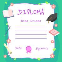 Vetor de certificado de Diploma de jardim de infância feminino