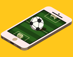 Campo de futebol isométrico no telefone vetor