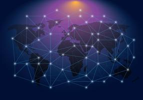 Ethereum Network em um mapa do mundo vetor