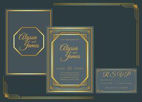 Molde do vetor do convite do casamento do art deco do ouro da marinha