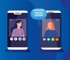 mulheres jovens em uma videoconferência por meio de smartphones