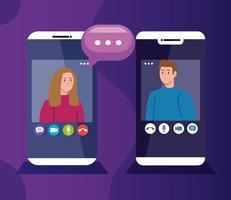 jovem casal em videoconferência via smartphones