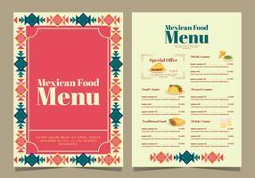 Menu de comida mexicana de vetor