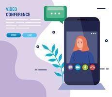 jovem em uma videoconferência via smartphone