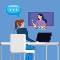 mulheres em uma videoconferência via laptop