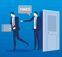 cena de um chefe dizendo ao funcionário que ele está despedido