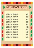 Menu de comida mexicana com ilustração vetor