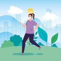 mulher correndo ao ar livre com uma máscara facial
