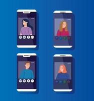 jovens em videoconferência via smartphones
