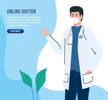 banner de medicina online com médico usando máscara facial