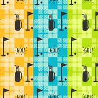 Conjunto de padrão de golfe vintage vetor