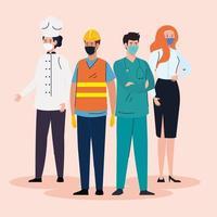 trabalhadores essenciais do grupo usando máscaras