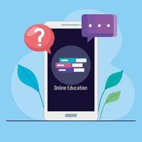 tecnologia de educação online com smartphone vetor