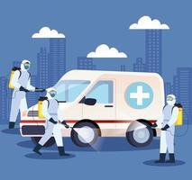 ambulância sendo desinfetada durante a pandemia de coronavírus vetor