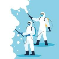 pessoas com roupas de proteção para a desinfecção de coronavírus