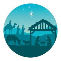 feliz natal e natividade com Maria, José, o bebê Jesus e os três Reis Magos