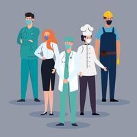 grupo de trabalhadores essenciais usando máscaras