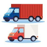 ícones de veículos de serviço de entrega de caminhões