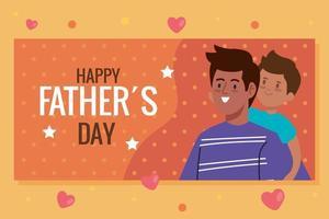 cartão de feliz dia dos pais com o pai carregando o filho vetor
