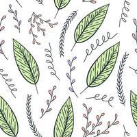 folha desenhada à mão padrão sem emenda