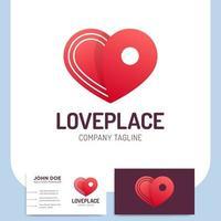 ícone de coração e cartão de visita logístico