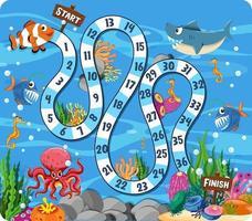 jogo de tabuleiro de caminho em tema subaquático com animais marinhos vetor