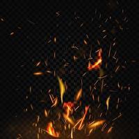 fogo voando faíscas no fundo preto vetor