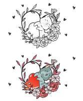 adorável gato e coração dentro da página para colorir dos desenhos animados da videira do coração vetor