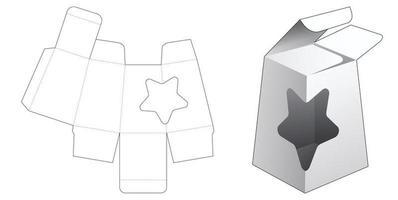 embalagem obelisco com modelo de janela em formato de estrela vetor