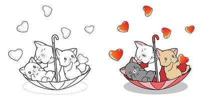 página para colorir de gatos bonitos em guarda-chuva com chuva de amor vetor