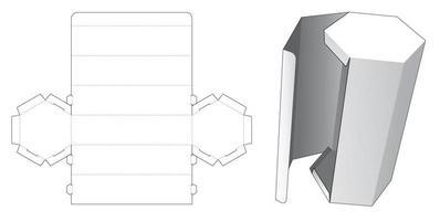 embalagem hexagonal alta com modelo de corte e vinco lateral vetor
