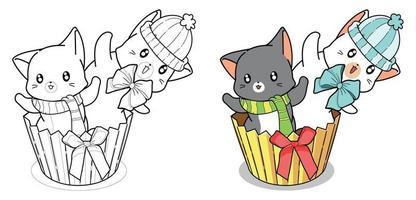 2 gatos fofos na página para colorir de desenho animado de cupcake
