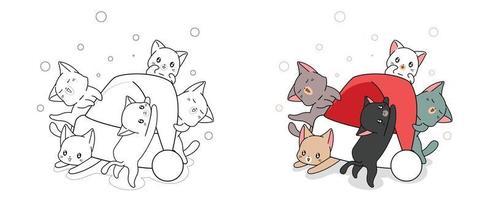 Gatos adoráveis e desenho de chapéu de Natal para colorir