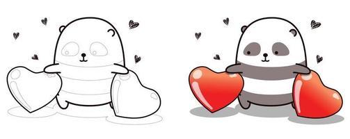 desenho de panda e 2 corações para colorir facilmente vetor