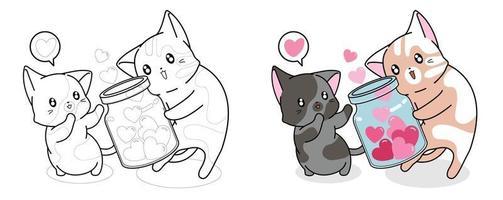 gatos recebendo corações em jarra para colorir