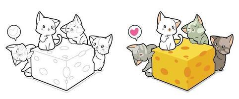 Página para colorir desenhos animados de gatos e queijo kawaii