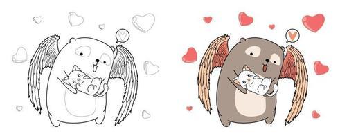 urso cupido está abraçando adorável desenho de gato para colorir vetor